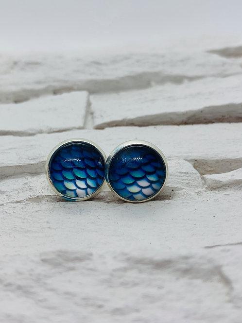 12mm Silver Stud Earrings, Blue Mermaid