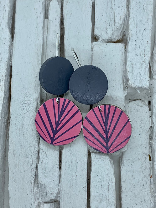 Pink Leaf, Grey, Double Wooden Round Hanging Earring