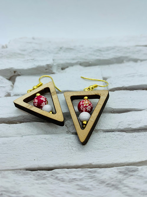 Wooden Triangle, Red & White Bead