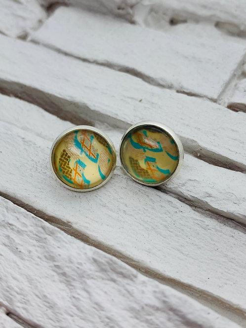 12mm Silver Stud Earrings, Cream/Blue Multicolour Fields