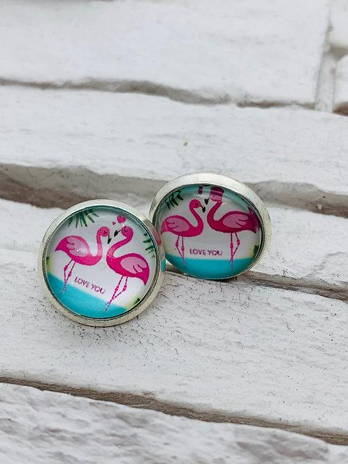 12mm Silver Stud Earrings, Flamingo Love