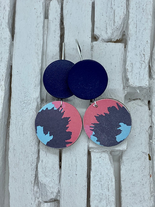 Colour Splash, Navy, Double Wooden Round Hanging Earring