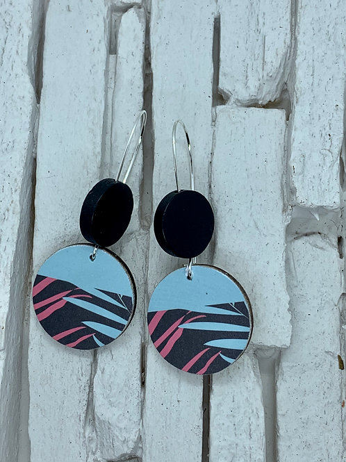 Tropical Printed, Double Wooden Round Hanging Earring