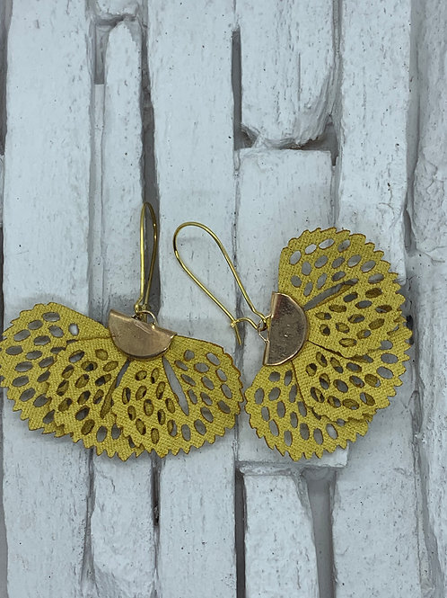 Mustard Yellow Frill Hanging Earrings