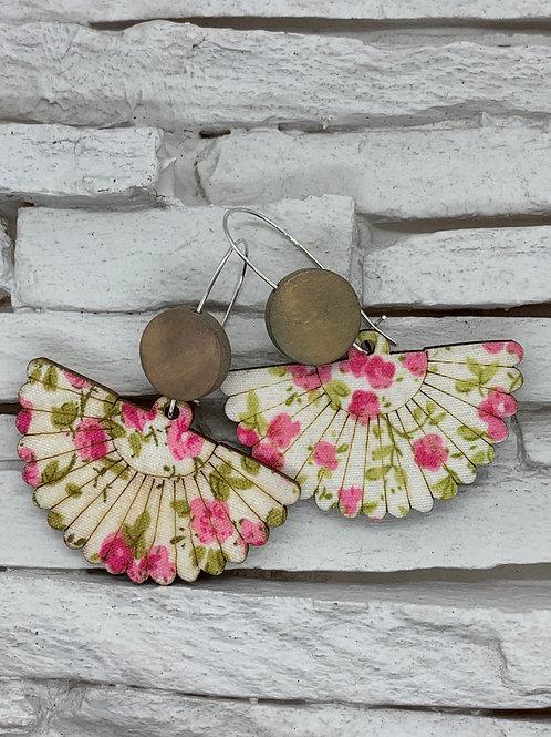 Pink Floral Wooden Fan Hanging Earrings