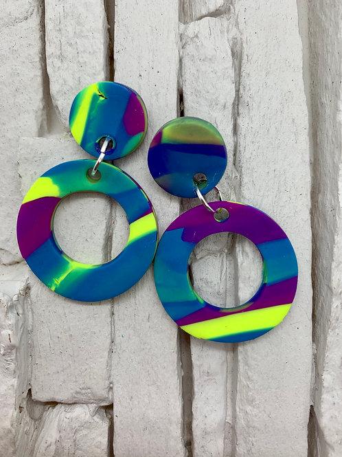 Blue Yellow & Purple, Circle Clay Earrings
