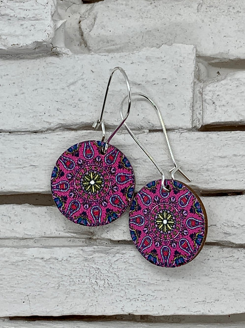 Pink Kaleidoscope, Wooded Hanging Earrings