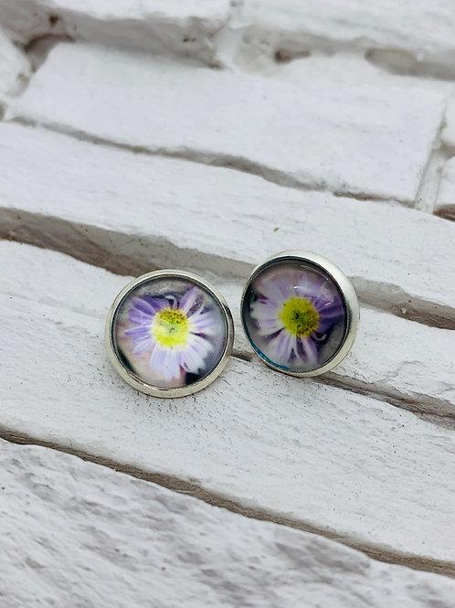 12mm Silver Stud Earrings, Purple Daisy