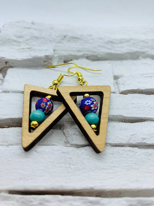 Wooden Triangle, Purple & Turquoise Bead