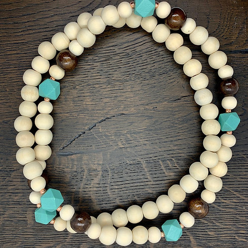 Turquoise/Brown/Rose Gold, Wheat, Wooden Beaded Necklace