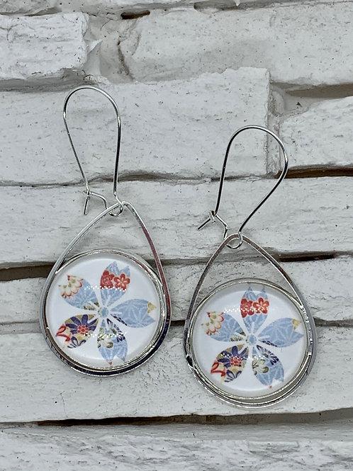 White/Sky Blue Flower, Silver, Pendant Drop, Hanging Earrings