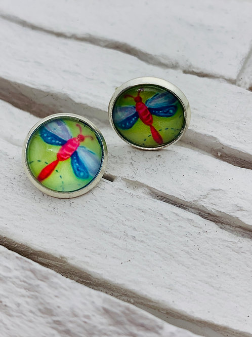 12mm Silver Stud Earrings, Red/Blue, Dragonfly