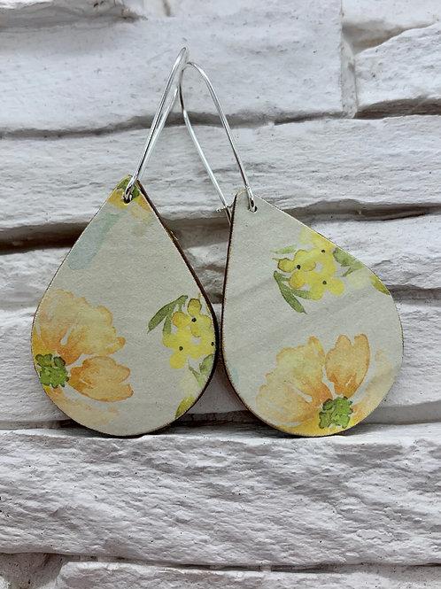 Autumn Flower, Wooden Drop, Hanging Earrings
