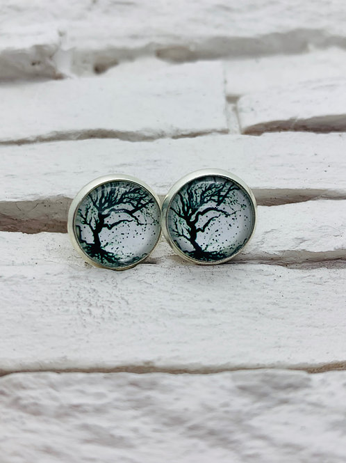 12mm Silver Stud Earrings, Black/White Tree