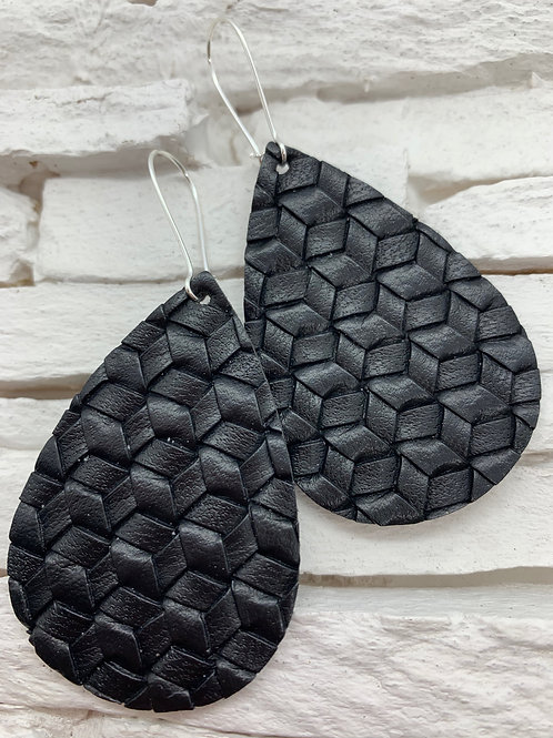 PU Leather Pendant Drop, Black Braided