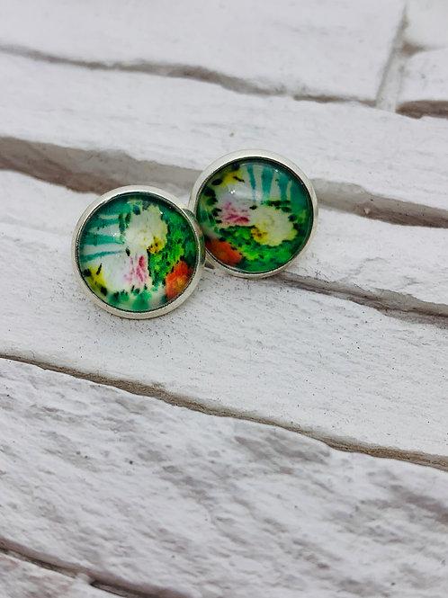 12mm Silver Stud Earrings, Lillypad