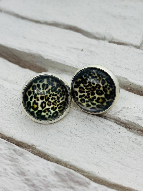 12mm Silver Stud Earrings, White Leopard Print