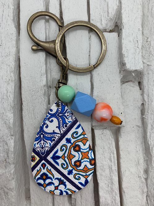 Blue Multicolour Leather Drop, Beaded Keyring
