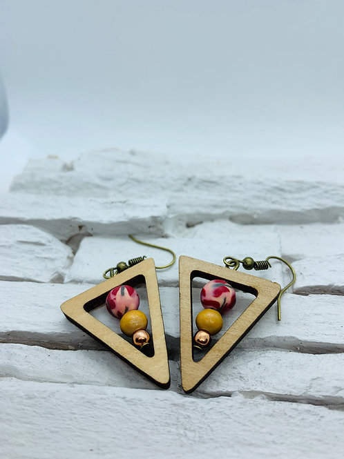 Wooden Triangle, Pink & Mustard Bead