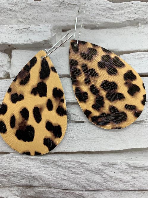 PU Leather Pendant Drop, Black/Tan Animal Print