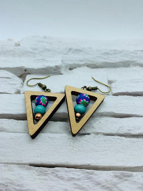 Wood Triangle, Purple & Aqua Beaded