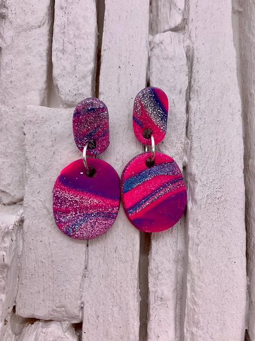 Pink Swirl, Glitter, Oval, Clay Earrings