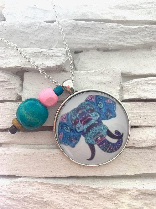 Boho Blue Elephant Pendant Necklace