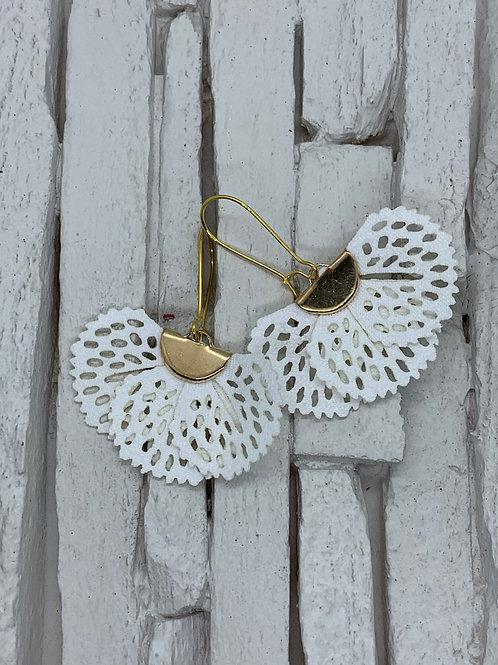White Frill Hanging Earrings