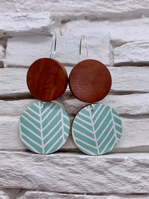 Teal/White Stripe, Brown, Double Wooden Round Hanging Earring