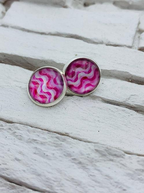 12mm Silver Stud Earrings, Pink Ripple