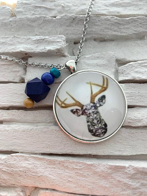 Tan/Black/White Deer Pendant Necklace