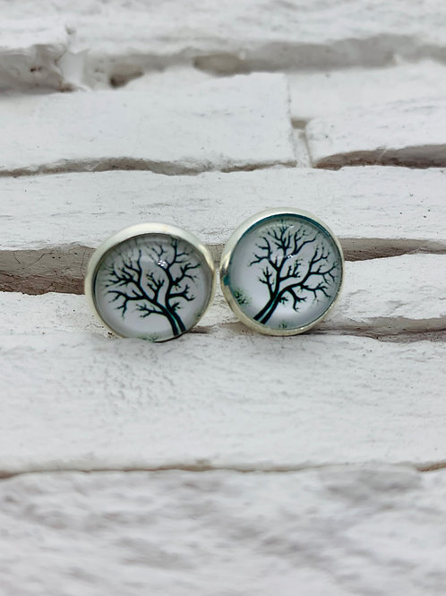 12mm Silver Stud Earrings, White/Black Tree