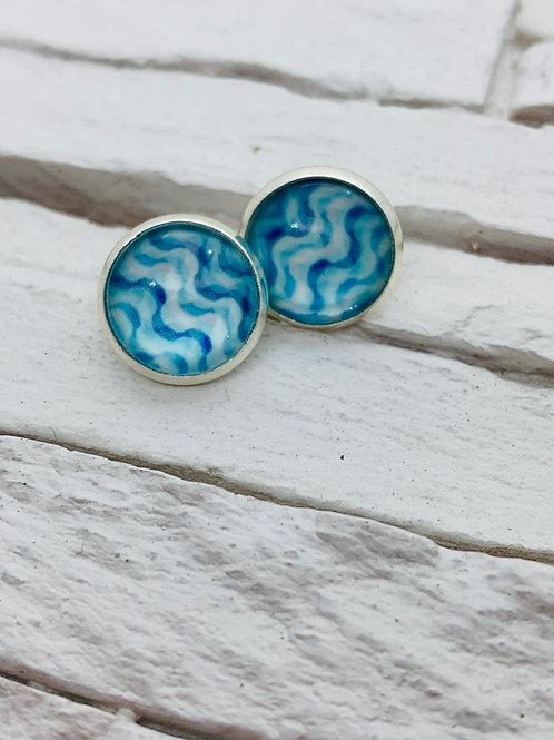 12mm Silver Stud Earrings, Blue Ripple