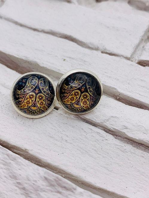 12mm Silver Stud Earrings, Navy Angel Wings