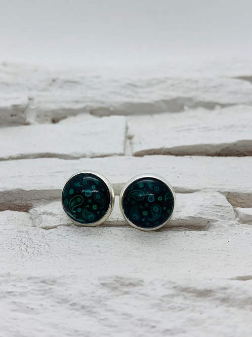 12mm Silver Stud Earrings, Navy & Turquoise Paisley