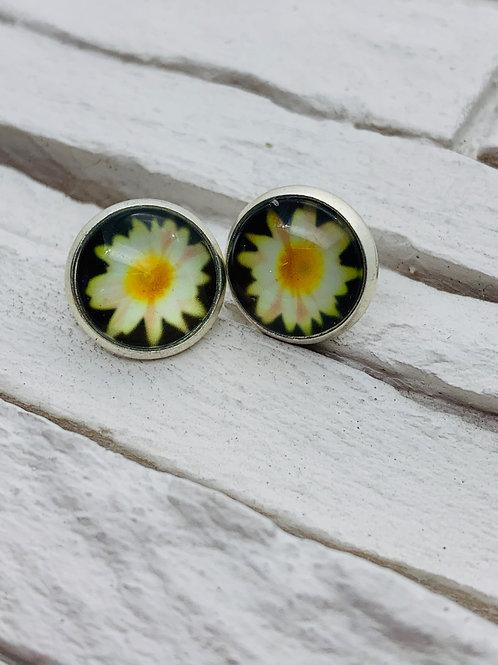 12mm Silver Stud Earrings, Yellow Daisy