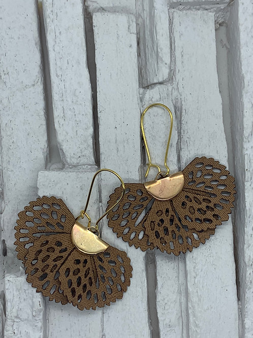 Brown Frill Hanging Earrings