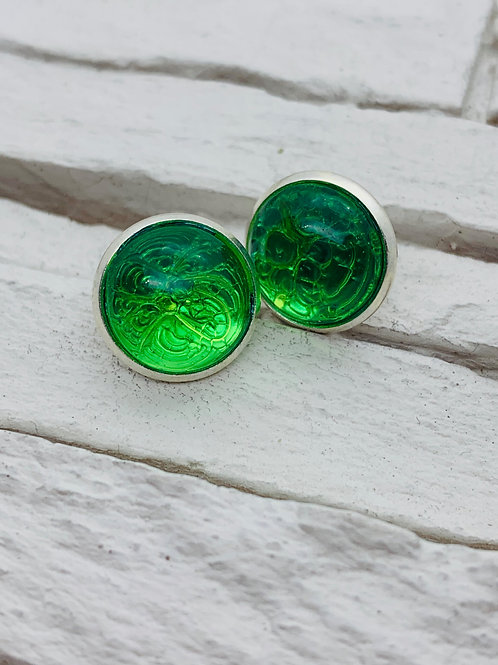 12mm Silver Stud Earrings, Dark Green Marble
