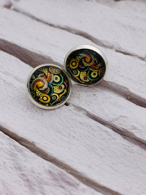 12mm Silver Stud Earrings Green/Autumn Paisley