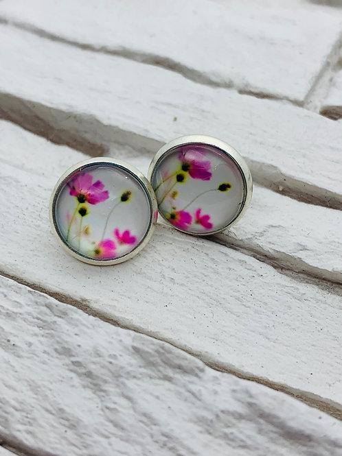 12mm Silver Stud Earrings, Pink Poppy