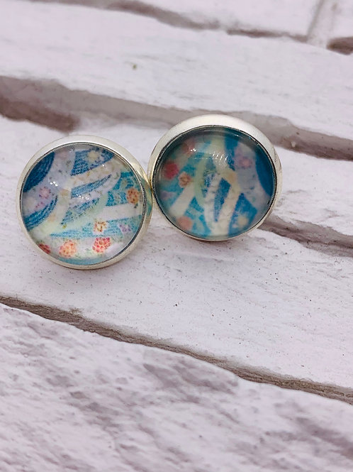 12mm Silver Stud Earrings, Blue/Multicolour Fields