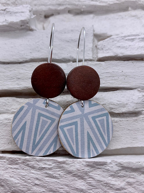 Blue Triangles, Brown, Double Wooden Round Hanging Earring