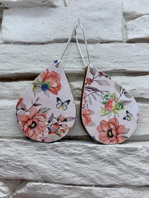 Spring Bloom, Wooden Drop, Hanging Earrings