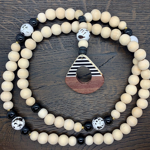 Black/White/Gold, Wheat, Wooden Beaded Necklace