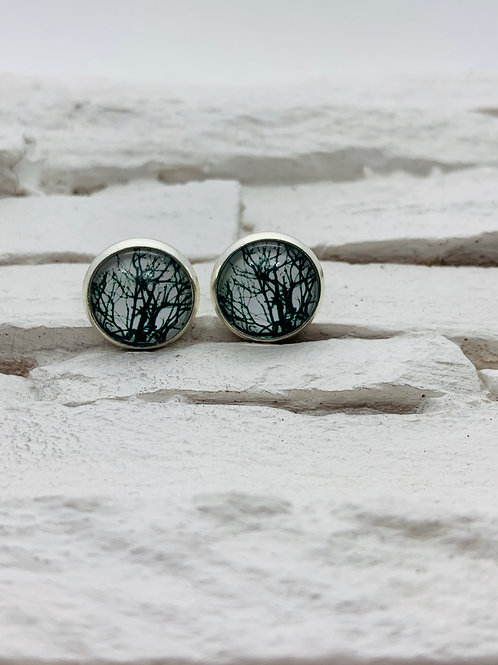 12mm Silver Stud Earrings, Black/White Bush