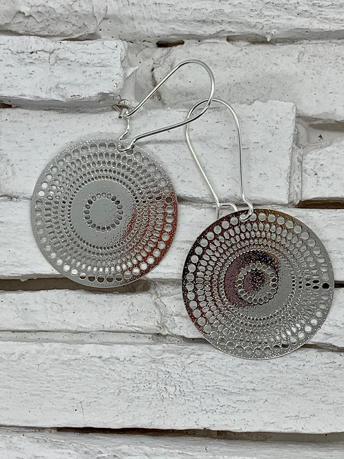 Round Filigree, Silver Hanging Earrings