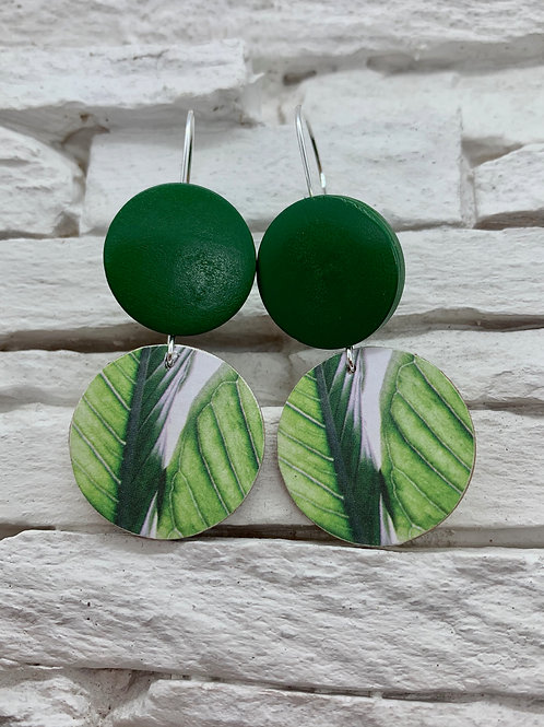 Pink/Green Leaf, Green, Double Wooden Round Hanging Earring