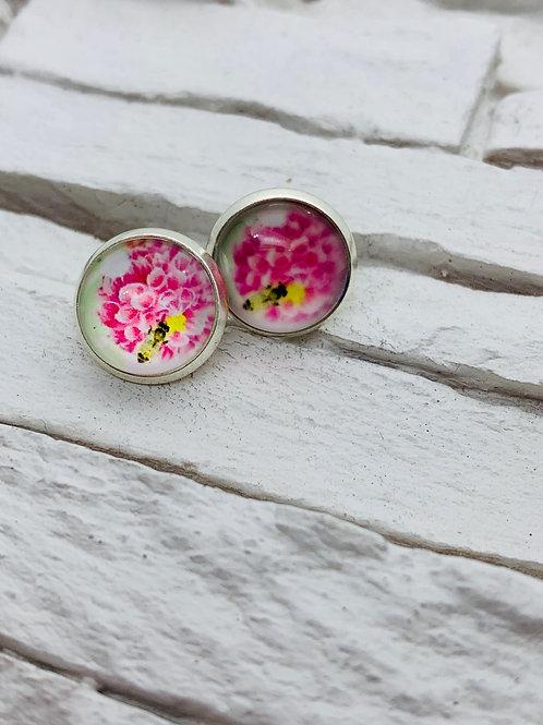 12mm Silver Stud Earrings, Pink Flower with Bee