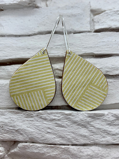 Mustard Yellow/White Stripe, Wooden Drop Hanging Earrings