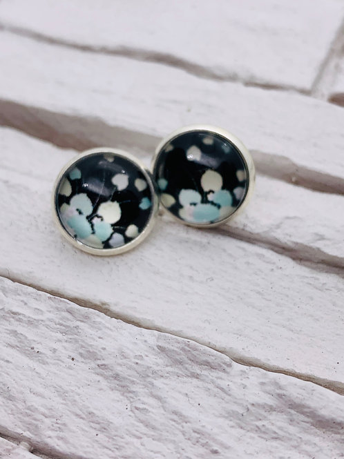 12mm Silver Stud Earrings, Black/Blue/White Leaf